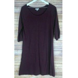 GARNET HILL Burgundy 3/4 Sleeve Dress M